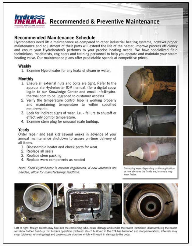 Recommened maintenance for Hydro-Thermal's direct steam injection Hydroheaters and JetCookers