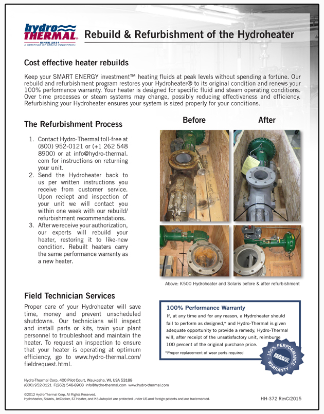 rebuild and refurbishment program for Hydro-Thermal's direct steam injection heaters