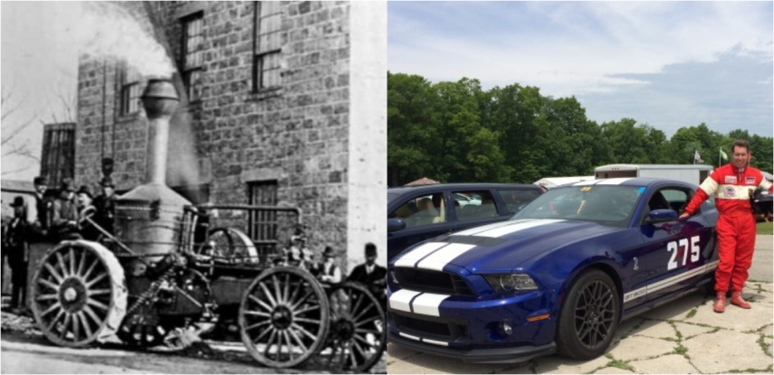 The Gallinger men and their cars; Alexander with the Oshkosh (1878), Grant with his Shelby Mustang GT500 (2014)