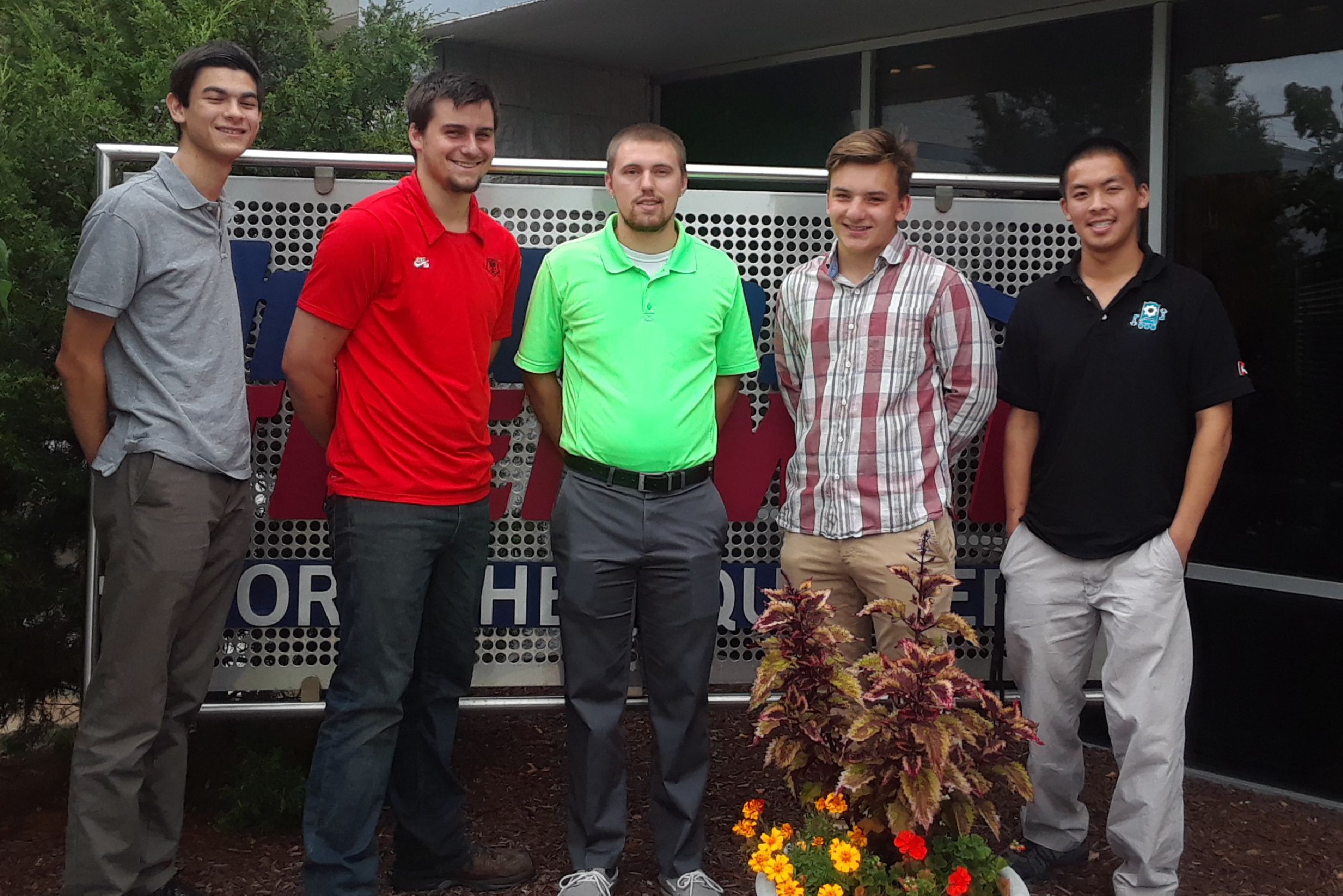 2018 Hydro-Thermal interns: Andrew Kempen (freshman, MSOE and recent Waukesha South High School grad), Aaron Bauer (senior, UW-Platteville), Mike Johrendt (recent grad, UW Oshkosh), Hanson Zaiser (Senior, Brookfield Academy), and Kelly Chen (senior, UW-Milwaukee).