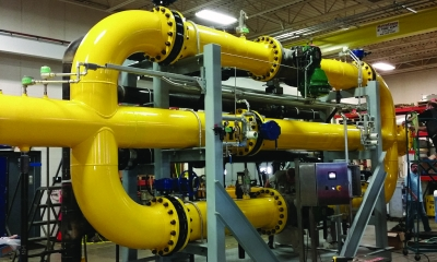 Hydro-Thermal custom designed and manufactured this skid system to be used in a water filtration process.